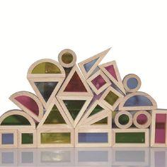 Súper Creativo de Acrílico Del Arco Iris Torre Pila de Bloques de Construcción de Juguetes Educativos para Niños De Madera Diy Montaje de Bloques de Construcción