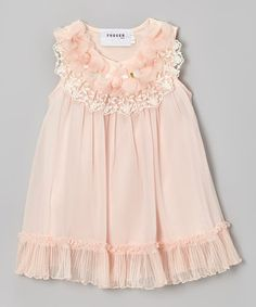Take a look at this Peach Pleated Hem Swing Dress - Toddler & Girls by Fouger for Kids on #zulily today!