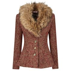 Fabulously Fur Collar Jacket Feminine and fabulous, this impressive fluted jacket oozes sophistication. We love the subtle mix of warm colours against the dramatic faux fur collar. Make a statement and wear as is or detach the collar for a simpler style.
