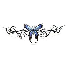 Blue Butterfly Tramp Stamp Tattoo Design