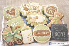 Baby shower cookie set - pram, teddy bear, bottle, non-traditional soft colors, by Cookie Deco. Fun, posted at Cookie Connection