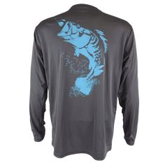 Performance lightweight polyester long sleeve fishing shirt with Sportsman logo and a jumbo large mouth bass on the back. Stain release and odor control.