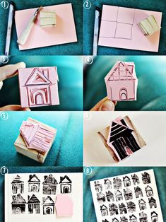 Make Your Own House Stamp - A Beautiful Mess DIY: house stamp I like this technique of using a stamp to create a design I could use this by designing a flower, a bird or even architecure Homemade Stamps, Make Your Own Stamp, Crafts To Make, Diy Crafts, Stamp Carving, Stamp Printing, Tampons, Diy Art, Stencils