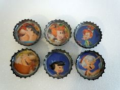 Flintstones Family.  Bottle Cap Magnet. Fun Fridge Magnet. Upcycling. $5.25, via Etsy.