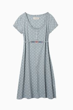 Shearwaters Dress from Seasalt Cornwall - To the knee, all-cotton, with micro-ruffles around the neckline and sleeves. The tie waist detail and floral print make it feel very cute and sweet while the casual shape keeps it from feeling like a costume.