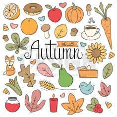Autumn Doodle objects, Hand drawn Clip Art Set, Trendy Retro Clipart, Commercial Use, Digital Downlo Autumn Doodles, Planners, Image Paper, Clip Art, Digital Illustration, Vector Illustrations, Vector Graphics, Just In Case, How To Draw Hands