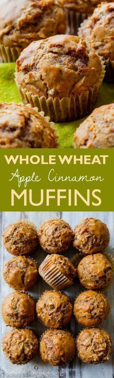 Hearty, healthy, and satisfying whole wheat muffins filled with sweet apples and plenty of cinnamon spice! Recipe on http://sallysbakingaddiction.com
