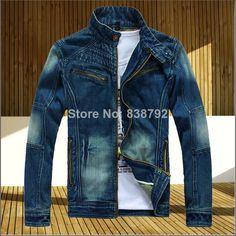 2014 New Fashion Korean Style Men's Denim Jacket Brand High Quality Comfortable Zipper Fly Cotton Male Cowboy Jacket M-XXL JK07 $33.98
