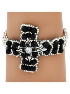 Multi-Strand Black and Silvertone Cross Bracelet