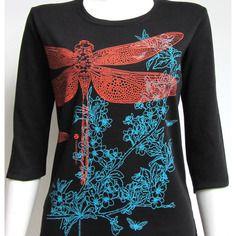 T-shirt femme imprimé libellule + fleurs de cerisier / sakura, green division, noir, manches trois quart