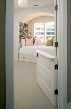 Dutch door used in a little girl's bedroom