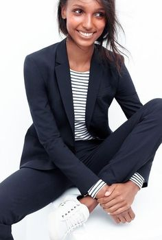 3 Stylish And Easy Work Looks For Fall - minimal chic navy suit, striped top & white sneakers - # Fashion Mode, Minimal Fashion, Fashion Trends, Minimal Chic, Autumn Fashion Work, Work Fashion, Style Fashion, Sneakers Fashion Outfits, Casual Outfits