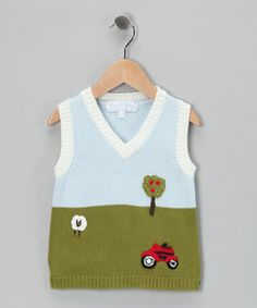 Blue & White Farmyard Vest - Infant | Something special every day