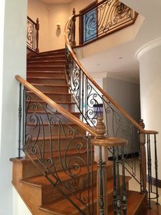 Wrought iron railing traditional-staircase