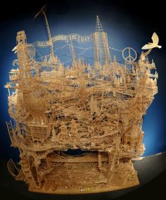One Man, Toothpicks, and 35 Years: An Incredible Kinetic Sculpture of San Francisco. Artist Scott Weaver spent over thirty years building this incredible kinetic sculpture of San Francisco using toothpicks. Statues, Toothpick Sculpture, Art Du Monde, Les Themes, Art Brut, Art Plastique, Oeuvre D'art, Wood Art, Sculpture Art
