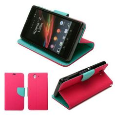 GMYLE(TM) Hot Pink with Tiffany Blue PU Leather Wallet Style Case Cover for Sony Xperia Z L36H C6602 / C6603 (with Card Slots & Money Pocket) - http://androidizen.com/shop/gmyletm-hot-pink-with-tiffany-blue-pu-leather-wallet-style-case-cover-for-sony-xperia-z-l36h-c6602-c6603-with-card-slots-money-pocket/