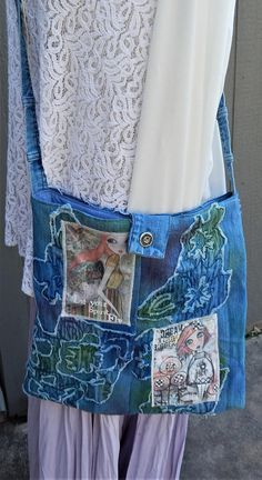 "Mixed Fabric Denim Patchwork Handmade Tote  ""HOPE"" Crossbody Bag, Green and Blue, Medium Bag, Fabric Bag, Glittery, Embroidered Beaded Bag. by CrossMyHeartBags on Etsy"
