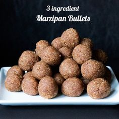 Recipe for easy 3 ingredient marzipan (almond paste). Ingredients: Medjool dates, almond extract and almond meal. That's it!