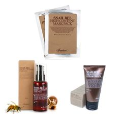 Benton Snail Bee High Content Essence, Steam Cream, and Sheet Masks. Great for people with troubled skin!