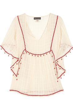 Antik Batik Embellished Cotton Top $195: or - thrift a beautiful tablecloth and some rickrack, some red pearls, and go!