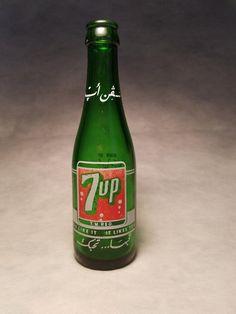 ACL 1964 7oz 7Up Soda Bottle VINTAGE 7UP SODA BOTTLE GREEN GLASS 7 OUNCES OZ
