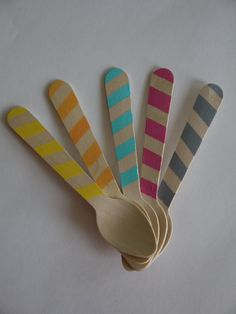 painted bamboo ice cream spoons, stripes