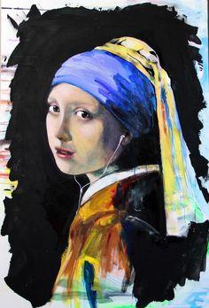 "Saatchi Art Artist: Yuliya Vladkovska; Acrylic 2012 Painting ""Johannes Vermeer remake :-) girl with a pearl earring. SOLD"""