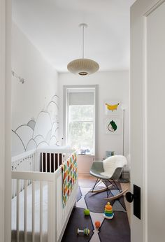 A mural by local illustrator Kale Williams—a good friend and the wife of one of Brill's partners—provides the backdrop forthe nursery.