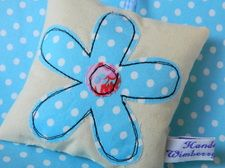 Blue flower decoration, £6.50 from wimberry designs - some super cute stitch work here!