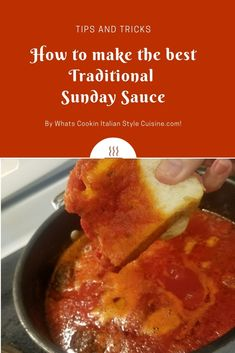 Italian Traditional Italian Sunday Sauce made in a big sauce pan for pasta. Sauce Recipes, Pasta Recipes, Dinner Recipes, Cooking Recipes, What's Cooking, Drink Recipes, Beef Recipes, Great Recipes, Favorite Recipes