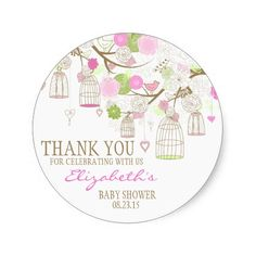Flowers and Birdcages Thank You Baby Shower Sticker