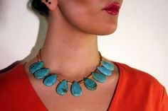 Turquoise and Golden Agate Statement Necklace by jewelrybysassy Handmade Beaded Jewelry, Unique Jewelry, Wearable Art, Agate, Turquoise Necklace, Chokers, Trending Outfits, Bracelets, Handmade Gifts