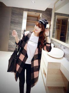 Korean Style - V-neck plaid long sections woolen coat