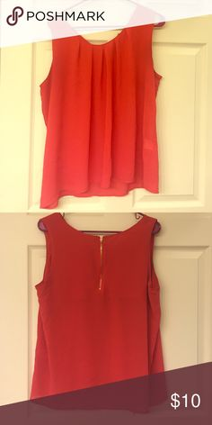 Orange Blouse with Gold Zip Back Orange/red tank top shell/blouse with gold zipper detail on the back. Pleated front makes for flattering fit  Size XL but would also fit L I believe. Tops Tank Tops