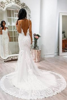 White Lace Tulle Mermaid Spaghetti Straps Court Train Wedding Dress with Appliques, – Baby Girl ♡ White Lace Tulle Mermaid Spaghetti Straps Court Train Wedding Dress with Appliques, Vestido de noiva boho Backless Lace Wedding Dress, Wedding Dress Train, Applique Wedding Dress, Perfect Wedding Dress, White Wedding Dresses, Cheap Wedding Dress, Bridal Dresses, Dress Lace, Wedding White