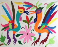 Mexican Embroidery of roosters. So colorful!