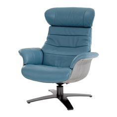 The mid-century modern style of the Enzo Blue Leather Swivel Chair accentuates any room in your home, with a beautiful grain pattern, flared arms, genuine leather upholstery, chrome metal base, and bent wood sides. An adjustable headrest and backrest, touch and release handle, and 360 degree swivel are included for your benefit.