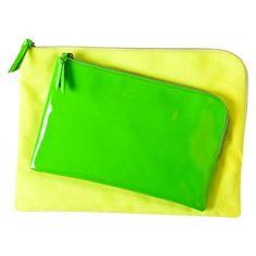 Xhilaration Yellow/Green Neon Patent Canvas Clutch