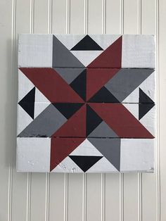 Wooden Barn Quilt Colors: Red, Gray, Black and White Barn Quilt Designs, Barn Quilt Patterns, Quilting Designs, Quilting 101, Painted Barn Quilts, Barn Signs, Farm Quilt, Wooden Barn, Barn Art