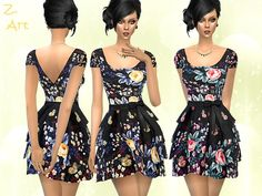 A charming summer dress with voluminous skirt and pretty floral pattern :D Found in TSR Category 'Sims 4 Female Everyday' The Sims, Sims 1, Flora Dress, Sims 4 Dresses, Sims 4 Game, Sims 4 Clothing, Sims 4 Update, Sims Mods, Sims Resource