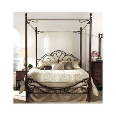 Antique-Metal-King-Poster-Bed-Frame-Wrought-Iron-Canopy-Headboard-Footboard-Set