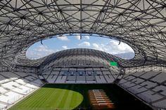 Stade Vélodrome - Marseille, France Soccer Stadium, Football Stadiums, Velodrome Marseille, St Etienne, Association Football, European Football, God Of War, Architecture, Cathedral