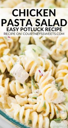This Chicken Pasta salad is full of flavor and easy to make! Make for potlucks parties or even to go with lunch and dinner. Using cooked chicken rotini pasta and veggies with mayo! Rotini Pasta Recipes, Chicken Pasta Salad Recipes, Easy Pasta Salad Recipe, Best Pasta Recipes, Easy Salad Recipes, Chicken Meals, Cooked Chicken, How To Cook Chicken, Easy Potluck Recipes