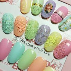 Floral Nail Art, 3d Nail Art, 3d Nails, Cool Nail Art, Nail Arts, Cute Nails, Pedicure Designs, Nail Art Designs, Arabesque