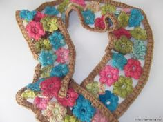 Crochet Puff Stitch Flower Scarf + Diagrams + Video Tutorials