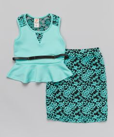 Take a look at the Mint Lace Peplum Top & Belted Skirt - Toddler & Girls on #zulily today!