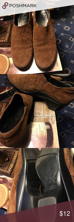 """Great pair of suede booties Cool design , there is wear on toes as per picture great with jeans long skirts or dresses 2"""" heel relaxshoe Shoes Ankle Boots & Booties"""