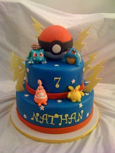 Pokemon - Birthday cake I made for my son's party. all figures are gumpaste. pokeball made from rice krispies. cake was red velvet size 12 and 9