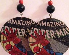 Up-Cycled Spider-man Earrings