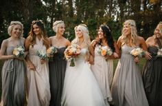 shades of gray mismatched bridesmaids dresses